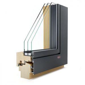 KLI Slim 110 lesena okna z alu oblogo